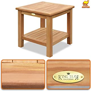 Strong Camel Teak Wood Side Table with Shelf - 19.7