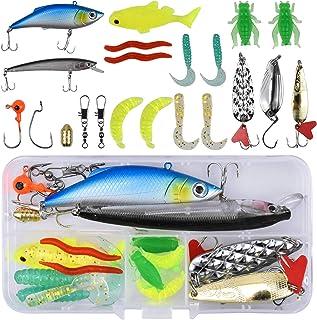 Changrongsheng Leurres de Pêche Kit, Appât Flottante Set, Souples Pêche Jigs, Crochets de Pêche, Plastique vers Poisson, H...