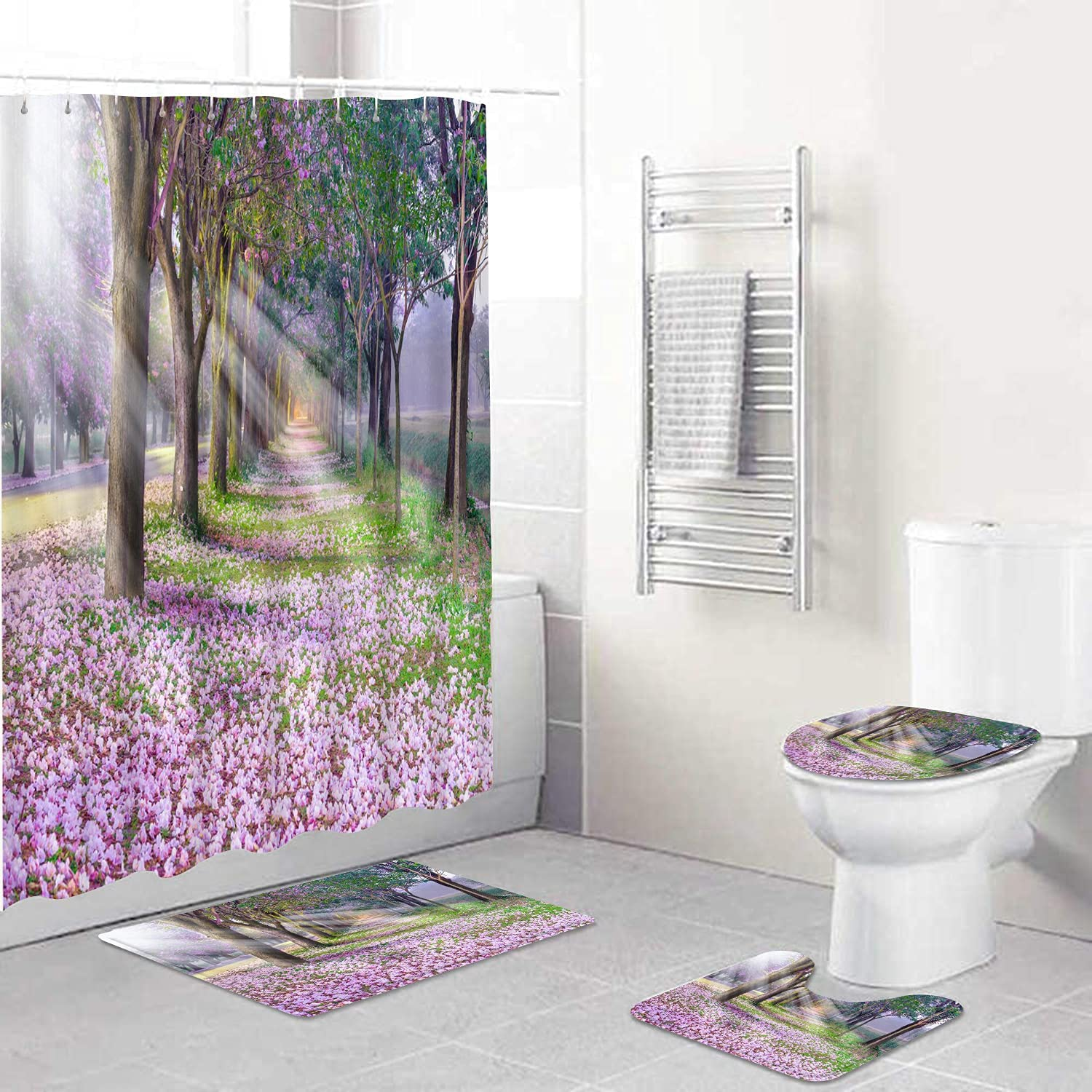 Spasm price AIRMARK Max 46% OFF 4 Pcs Shower Curtain Sets Non-Slip with Toilet Lid Rugs