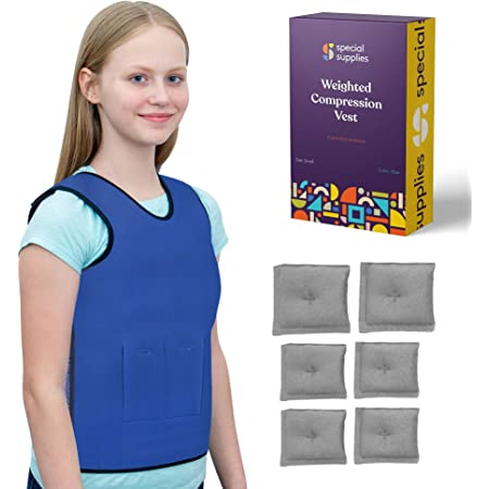Special Supplies Weighted Sensory Compression Vest for Kids with Processing Disorders, ADHD, and Autism, Calming and Supportive with Adjustable Weight Fit (Small 17x30 inches)