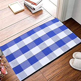 Farmhouse Cotton Buffalo Checkered Rug-2' x 3' Plaid Rug Door Mat for Entry Way Washable Doormat Bedroom Carpet Welcome Mat for Doorway/Laundry Room/Kitchen (23.6
