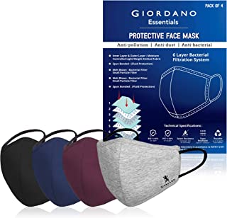GIORDANO Cotton Anti Pollution 6 Layer Reusable Outdoor Face Mask (Black, Blue, Maroon and Grey) - Pack of 4