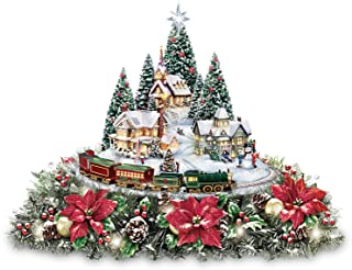 The Bradford Exchange Thomas Kinkade Christmas Village Floral Centerpiece with Lights Music and Motion
