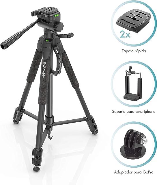 PAZZiMO trípode cámara réflex Negro para Canon con rótula panorámica y Otros Accesorios como un Soporte GoPro y Muy Estable con Funda de Transporte para Viajar.