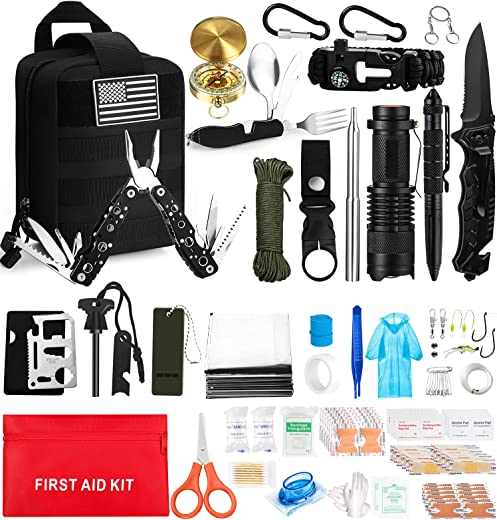 157Pcs Emergency Survival Kit, Professional Survival Gear Tool First Aid Kit, Gifts for Men Dad Husband Fathers Day, Tactical Molle Pouch for Disaster, Adventure, Camping, Hiking, Hunting
