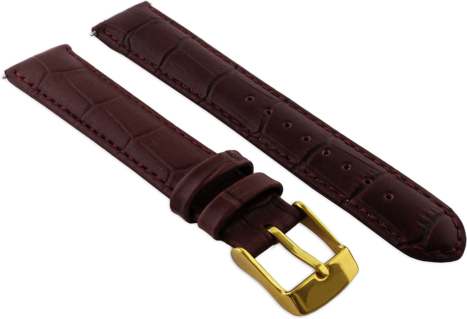 14mm Burgandy Genuine Leather Mock Max Outstanding 62% OFF Croc Strap Cr Watch Band Mens