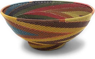 Bridge for Africa Fair Trade Zulu Telephone Wire 8-inch Pedestal Bowl, Painted Desert