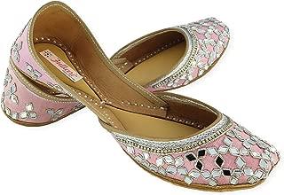 Fulkari Prime Mirror Women's Soft Leather Bite and Pinch Free Punjabi Flat Ladies Jutti Ethnic Mojari Jutis