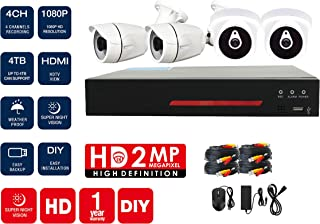 UK PLUS DIY 1080P 4CH Home & Office Security Camera, Surveillance CCTV AHD kit with DVR Full HD 2 Dome Camera/Indoor Camer...