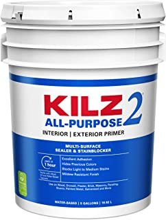 KILZ 2 Multi-Surface Stain Blocking Interior/Exterior Latex Primer/Sealer, White, 5 gallon