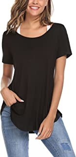 Women Open Back T Shirt Short Sleeve Backless Knit Tees Active Tops Blouse