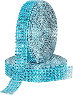 Mandala Crafts Faux Diamond Bling Wrap, Faux Rhinestone Crystal Mesh Ribbon Roll for Wedding, Party, Centerpiece, Cake, Vase Sparkling Decoration (1 Inch 5 Rows 20 Yards 2 Rolls, Turquoise)