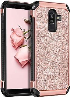 BENTOBEN Case for Samsung J8 2018, 2 in 1 Slim Glitter Bing Hybrid Hard PC Soft Rubber Heavy Duty Bumper Shockproof Full Body Protective Phone Cover for Samsung Galaxy J8 2018, Rose Gold