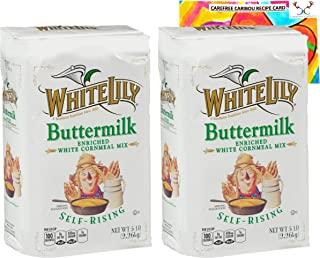 White Cornmeal Mix Bundle. Includes Two (2) 80oz Packages of White Lily Buttermilk Enriched White Cornmeal Self-Rising Mix...