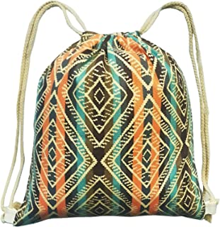 Drawstring Backpack Bags, Canvas Drawstring Bag Backpack Bags Sport Gym Sackpack for Hiking Yoga Gym Swimming Travel Beach