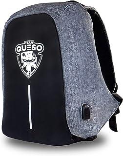Team Queso Mochila Antirrobo Edición Limitada. Compartimento para portatil, Puerto USB Incorporado, Gris