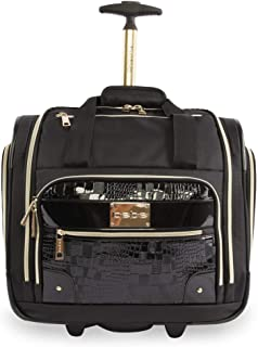 BEBE Women's Danielle-Wheeled Under The Seat Carry On Bag, Black Croc, One Size