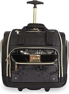 BEBE Women's Danielle-Wheeled Under The Seat Carry On Bag, Black Croc