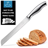 Zulay Serrated Bread Knife 8 inch - Ultra-Sharp & Durable Blade For Easy Slicing - Lightweight 304 Stainless Steel One Piece Design with Tip Safety Guard - Cut & Slice Bread