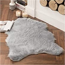 Faux Fur Sheepskin Rug, Soft Chair Cover Seat Pad Plain Skin Fluffy Area Rugs, Washable Bedroom Home Decor,Gray,65x100cm