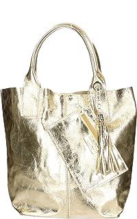 Aren - Handbag Borsa a Mano da Donna in Vera Pelle Made in Italy - 42x35x15 Cm