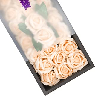 Ella Celebration Artificial Flowers, 25pcs Real Touch Foam Fake Roses Decoration DIY for Wedding Bridesmaid Bridal Bouquets Centerpieces, Party Decoration, Home Display, Office Decor (Peach)