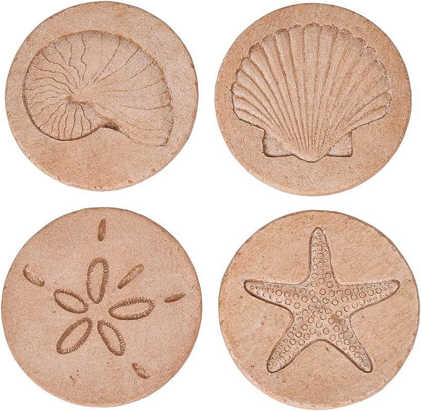 NIKKY HOME Beach Starfish Seashell Round Resin Coasters For Drinks 4 X 4 Set Of 4 Nautical Decor