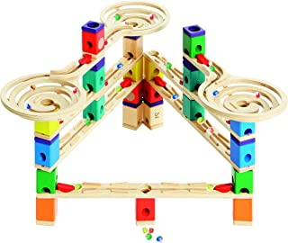 Hape E6009BK65 Quadrilla Wooden Marble Run Construction System, Vertigo, with Bonus Marble Catcher Toy, Multicolor