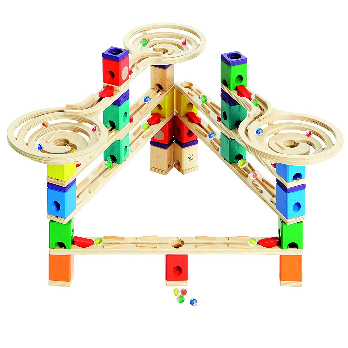 Hape E6009BK65 Quadrilla Wooden Marble Run Construction System, Vertigo, with Bonus Marble Catcher Toy, Multicolor