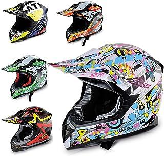 Hecht Motocrosshelm 51915 Motorrad-Helm Enduro ABS Quadhelm M 57-58 cm, hellblau/rosa/gelb