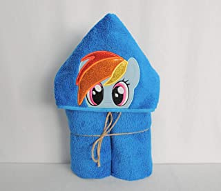 Blue Rainbow Pony Hooded Bath Towel for Baby Child and Teens