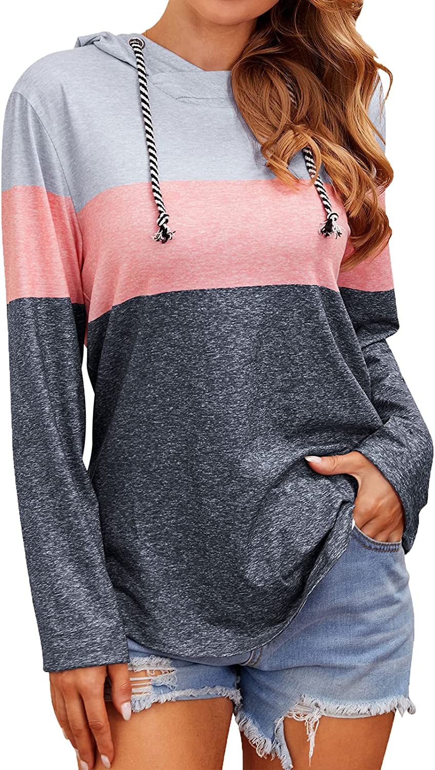 Women's Casual Tricolor Hoodies Color Block Striped Pullover Hoodie Tops with Drawstring Sweatshirts