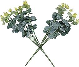 BlueRose Artificial Eucalyptus Leaf Bunch-Set of 2 Bunches-(Artificial Silver Dollar Leaf Bunches) Material/Good for Home ...