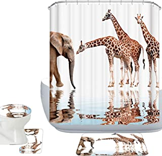 Amagical Cute Animals Giraffes with Elephant Pattern 16 Piece Bathroom Mat Set Shower Curtain Set Non Slip Bath Mat Contour Mat Toilet Cover 12 Hooks (Giraffes and Elephant)