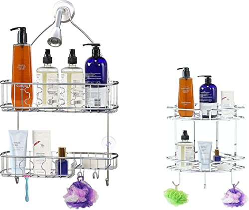 2021 Large Hanging Shower Caddy + high quality Adhesive outlet online sale Corner Shower Caddy outlet online sale