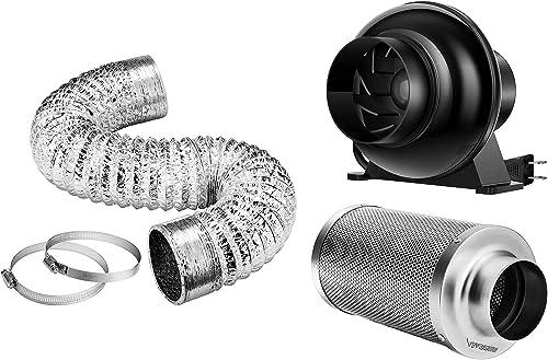 high quality VIVOSUN online sale 4'' 8ft Non-Insulated Flex Air Aluminum Ducting, 4 Inch 195 CFM Inline Fan, 4 Inch Air Carbon high quality Filter sale