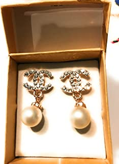 e6a9e85ee Designer Inspired Chanel Cc Pearl Earrings