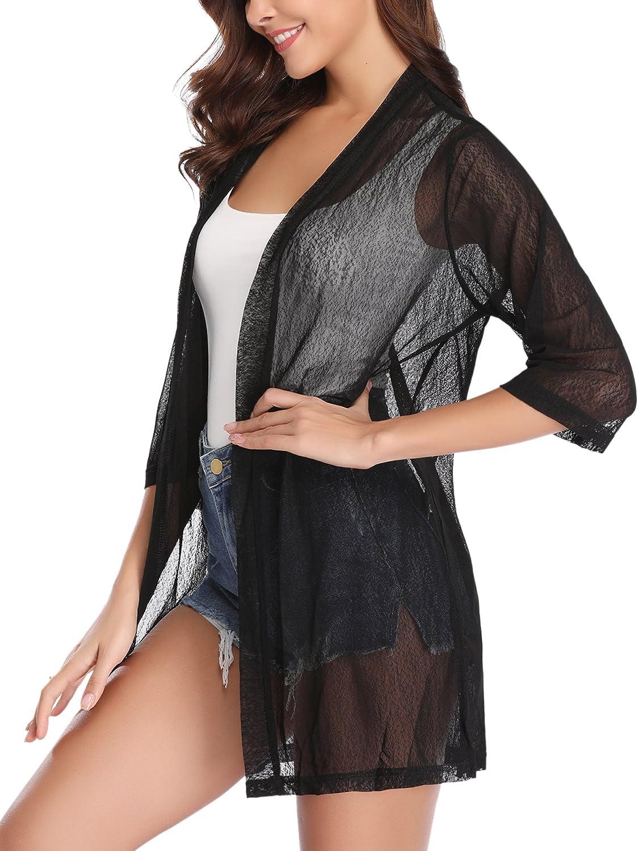 iClosam Women Casual 3/4 Sleeve Sheer Open Front Cardigan Sweater Kimono