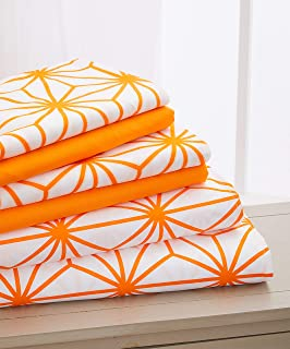Elegant Comfort Luxury Soft Cube Printed Set-1500 Thread Count Egyptian Quality Microfiber 6-Piece Set Wrinkle Resistant Coziest Bedding, All Around Elastic Fitted Sheet, King, Orange