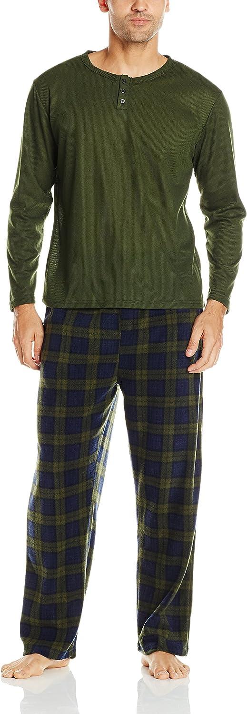 Essentials by Seven Apparel Men's Long-Sleeve Top and Fleece Bottom Pajama Set