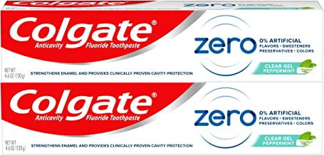 Colgate Zero Vegan Toothpaste, Natural Flavor with Fluoride, Peppermint Gel - 4.6 ounce (2 Pack)