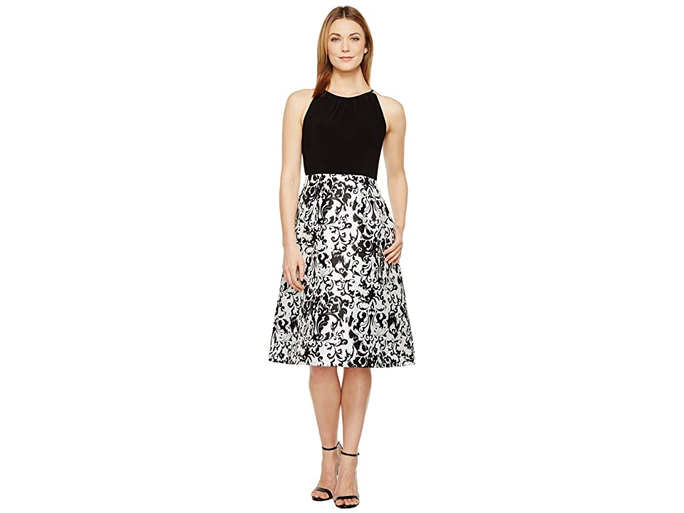 Adrianna Papell Jersey and Mikado Party Dress (White/Black) Women