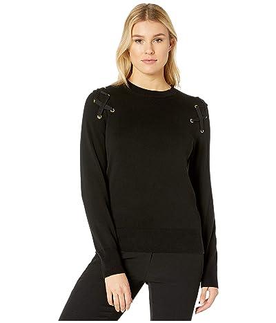 MICHAEL Michael Kors X- Detail Long Sleeve Crew Sweater (Black) Women