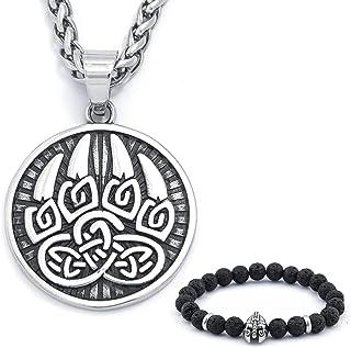 BaviPower Celtic Viking Knot Bear Paw Pendant Stainless Steel Keel Chain Necklace for Mens Women Warrior Spirit