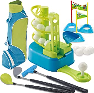JOYIN Club Golf Comprehensive Toy Set with 3 Golf Clubs, 3 Club Heads, Deluxe Toy Golf Bag, 15 Training Toy Golf Balls and Accessories, for Toddler Kids Boys and Girls Golf, Outdoor Lawn Sport Toy