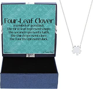Four-Leaf Clover Necklace Good Luck Charm Silver-Tone Pendant Necklace Jewelry Box Keepsake
