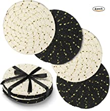 Coasters Set, Handmade Pure Cotton Thread Weave Round Drink Bar Coasters Thick Plain Absorbent Heat-Resistant Reusable Coasters Set of 4 by 4.3 inches Protect Furniture Gift for Christmas (Black)