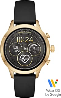 Michael Kors Women's Access Runway Plated Touchscreen Watch with Stainless Steel Silicone Strap, Black, 18 (Model: MKT5053)
