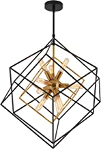 Artika CHMP-RN Imperium Mid Century Fixture 9-Light Chandelier 25W, Aged Brass Finish with Black Accents, Bronze