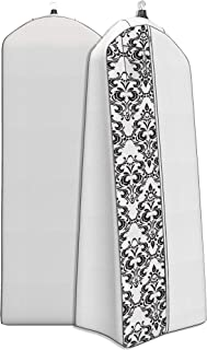 """Women's Dress and Gown Garment Bag - 72""""x24"""" - 20"""" Tapered Gusset, Black and White Damask"""